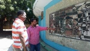 Mural cerámico de la Gallera Municipal de San Juan de la Maguana