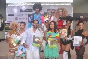 Franchesca Paez y Bernardo Then con los personajes de COCOBONGO 4