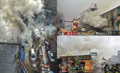 Fuego en Alto Manhattan destruye y afecta cerca 10 negocios