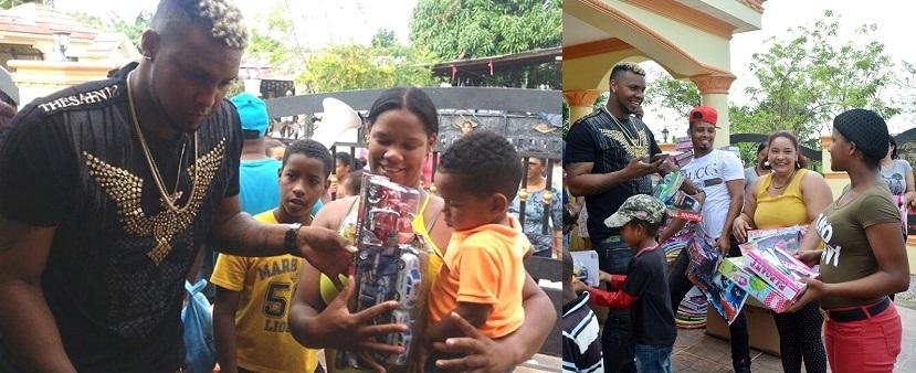 Lanzador Juan Nicasio entrega juguetes a cientos de niños en el Cibao