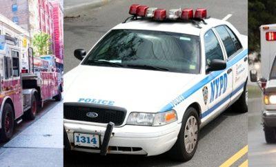 Vehículos emergencias NYC con dificultad moverse calle Dyckman Alto Manhattan